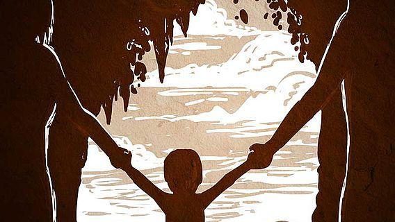 Zeichnung Neandertal-Denisova-Familie