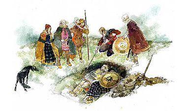Angelsächsische Bestattungsszene. (Zeichnung: English Heritage)