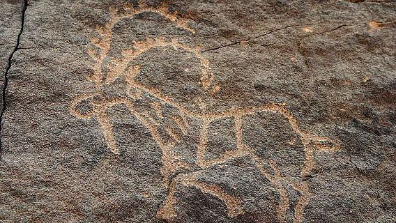 Petroglyphe in Bir Hima in Saudi Arabien