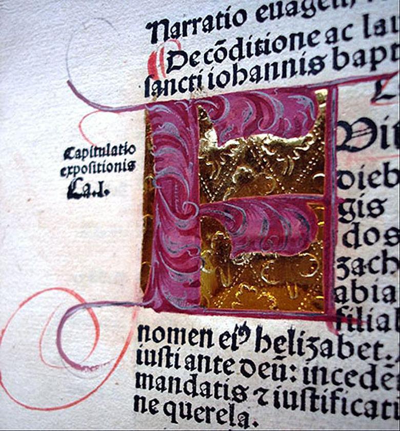 Inkunabel Initiale Dep Erf I.4°54 Werkausgabe von Ambrosius von Mailand gedruckt 1492 in Basel aus Beständen der Sondersammlung (Photo: UB Erfurt)