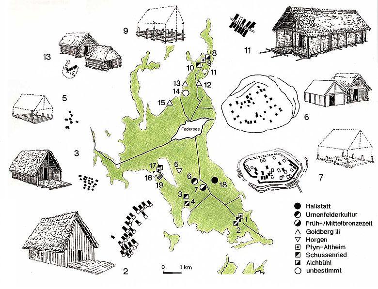 Die verschiedenen Siedlungsfunde im Federseemoor
