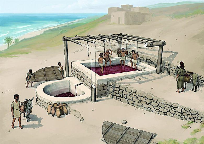 Rekonstruktion der Weinpresse von Tell el-Burak