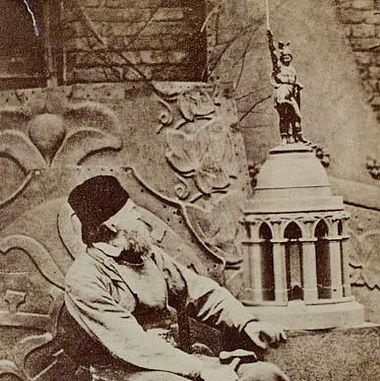 Bandel im Atelier mit Modell des Hermannsdenkmals, 1875 (Lippische Landesbibliothek)