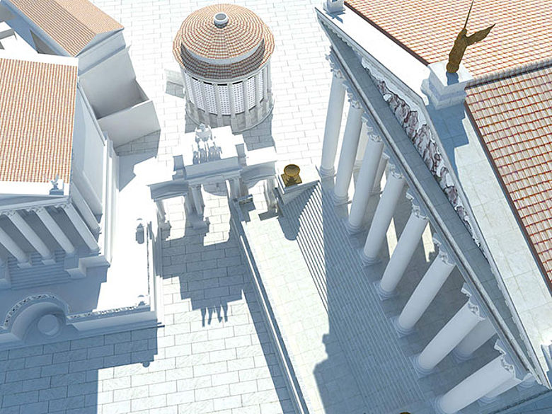 Vogelperspektive auf die Südostecke des Forums.