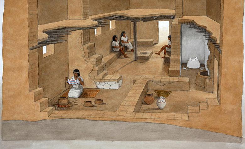 Rekonstruktionszeichnung eines Philisterhauses