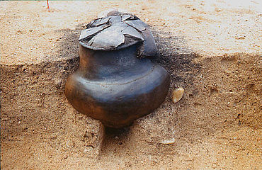 Früheisenzeitliche Urne. Foto: Landesamt für Archäologie Sachsen