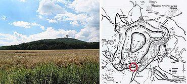 Links: Der Dünsberg etwa von Osten. Rechts: Wälle und Podien nach K. Reeh (2001 Abb. 113). Der rote Kreis markiert das Gebiet der Grabungen.