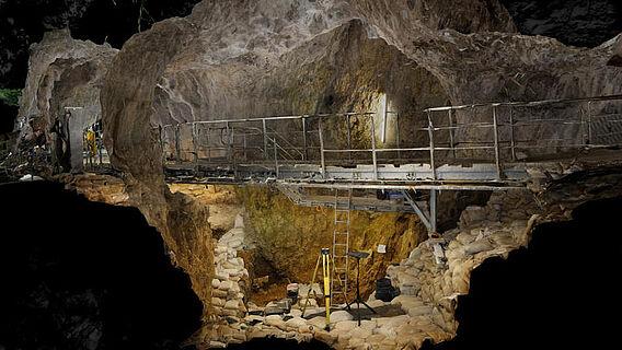 3D-Modell der Ausgrabungen im Hohle Fels