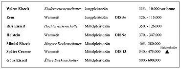 Die vier Eiszeiten des Alpenvorlandes im Wechsel mit den entsprechenden Interglazialen. (zur besseren Korrelierung werden für die Warmphasen die international gebräuchlichen Begriffe Cromer, Holstein und Eem verwendet). Das schwarze Dreieck gibt das stratigraphische Niveau der Fundstelle von Haidershofen an der Enns in Niederösterreich an. OIS = Sauerstoffisotopenstadium (Grafik: A. Binsteiner)