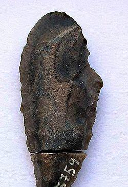 Abb. 3. Silexdolch aus alpinem Plattenhornstein aus der Pfahlbausiedlung von See am Mondsee, OÖ, der in zwei Teilen geborgen wurde; Länge: 6,8 cm, Plattenstärke: 0,9 cm (Foto: Alexander Binsteiner)