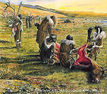 Späteiszeitliche Jäger häuten, zerlegen und entfleischen ein soeben erlegtes Wildpferd.