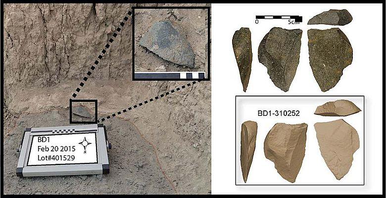 Eines der größeren Steinartefakte von Bokol Dora in Fundlage