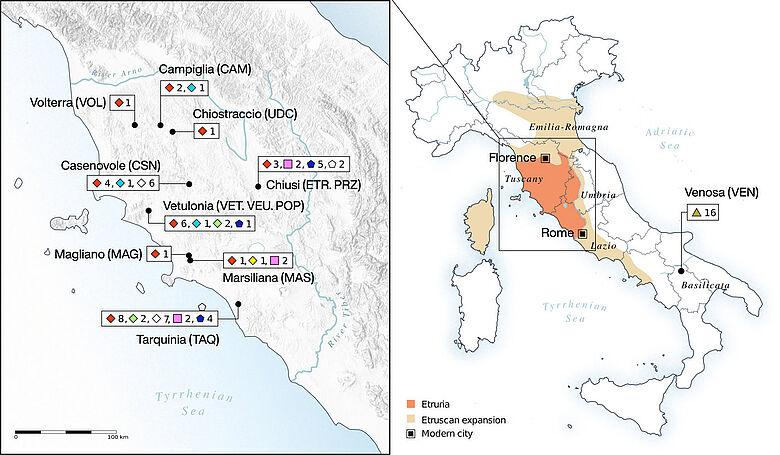 Etruskische Gebiete (Karte)