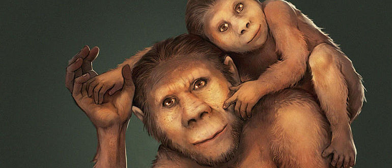 Australopithecus-Mutter mit Kind