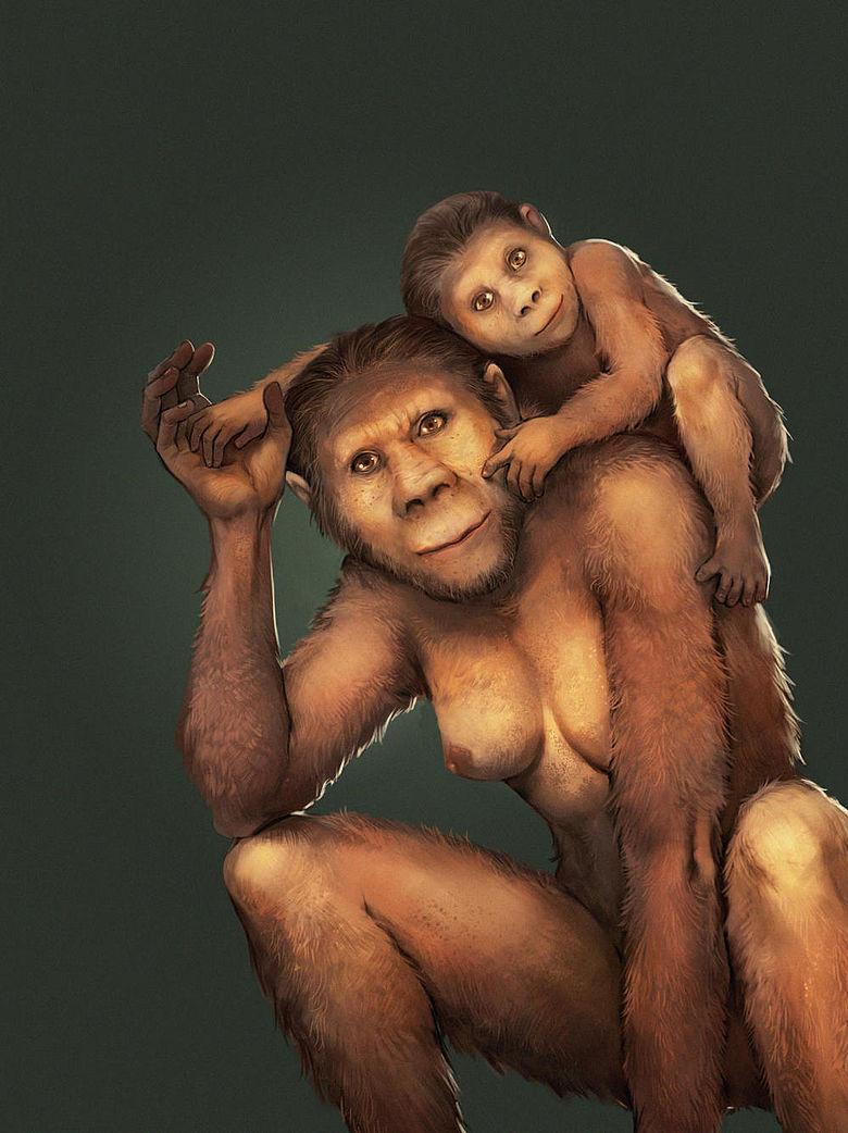 Australopithecus-Mutter mit Kind