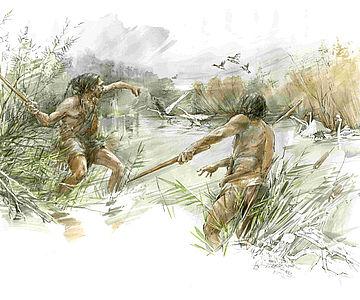 Jagd mit Wurfstock (Zeichnung)