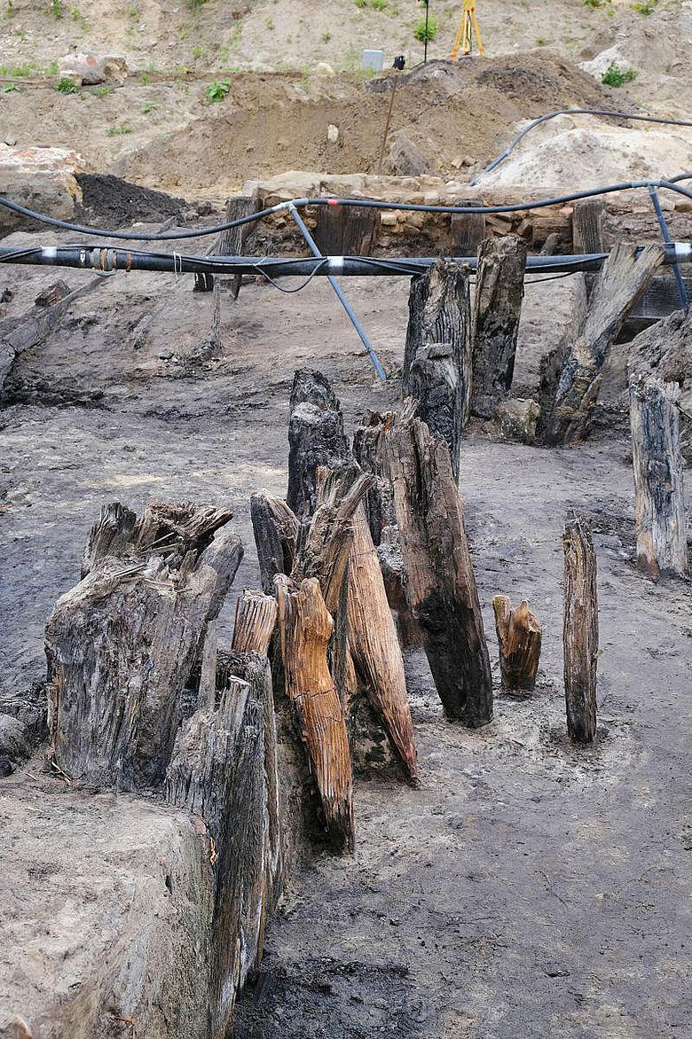Reste der Holzkonstruktion von Burg Gronau