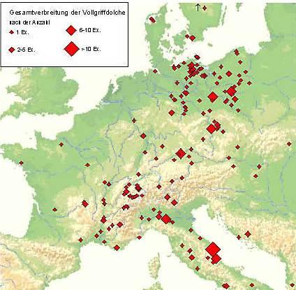 Abb. 2 Verbreitung der frühbronzezeitlichen Vollgriffdolche (nach Schwenzer 2003).