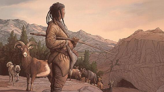 Neolithischer Hirte in Kirgisistan