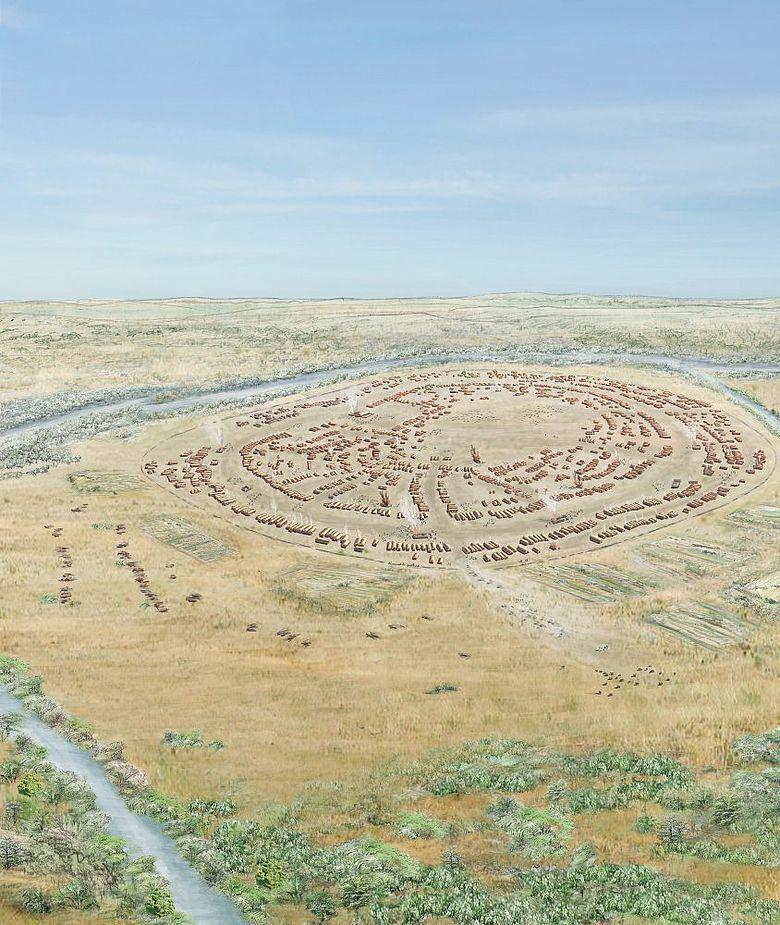 Rekonstruktionszeichnung des 200 Hektar großen Siedlungsareals der Tripolye-Siedlung Maidanetske