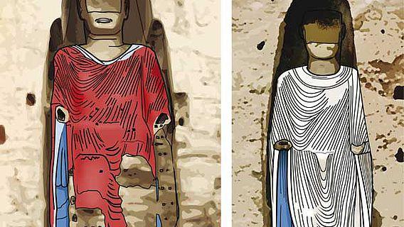 Die Rekonstruktion zeigt die Farbigkeit der Roben der Bamiyan-Buddhas gegen Ende des 10. Jahrhunderts. Wo in späterer Zeit beschädigte Teile nicht rekonstruiert werden können, sind die Schäden sichtbar (Abbildung: Arnold Metzinger)