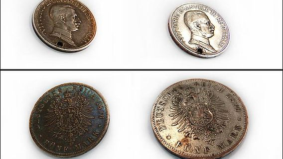 Münzen vor und nach der Plasmabehandlung