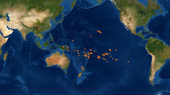 Verteilung der Orte, von denen die in der Datenbank erfassten Proben stammen