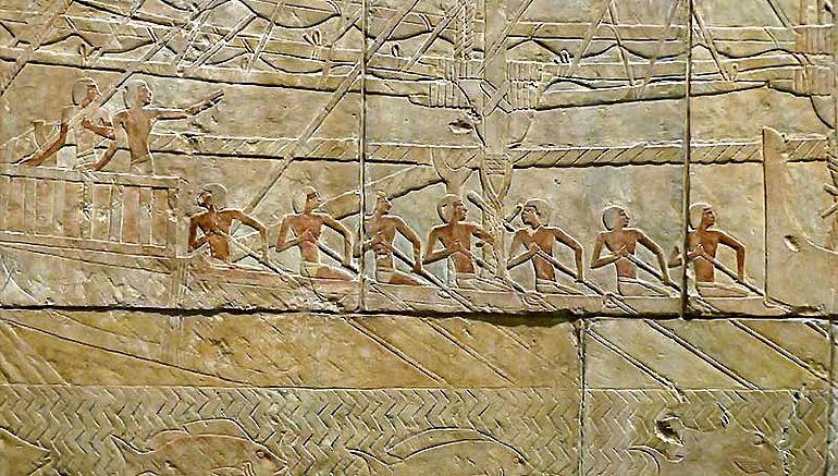 Ägyptische Mannschaft an Bord ihres Schiffes (private Aufnahme, Bearbeitung durch A. Brunn)