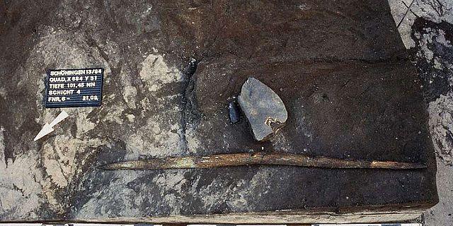 Entdeckung des beidendig angespitzten Holzstabes von Schöningen 13 II-4