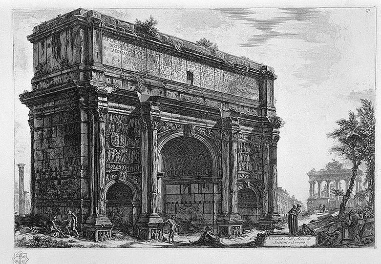 Abb. 2| Septimius-Severus-Bogen (Veduta dell'Arco di Settimo Severo). Radierung aus der Serie Veduta di Roma von Giovanni Battista Piranesi, 1772