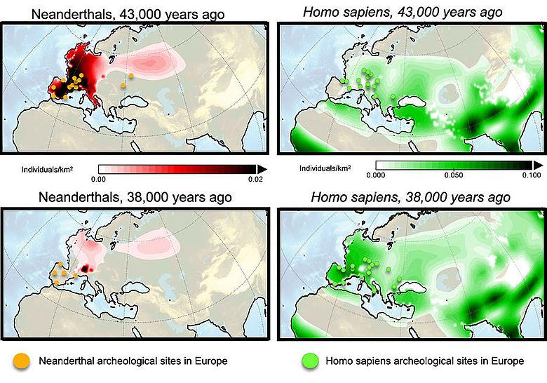 Bevölkerungsdichte von Neandertalern und modernen Menschen (Simulation)