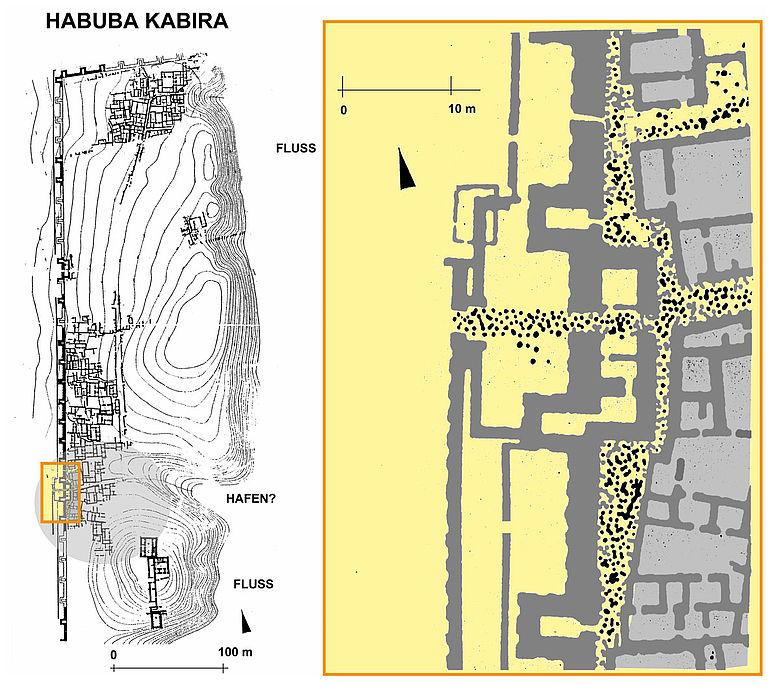 Plan der Kolonialstadt Habuba Kabira in Syrien