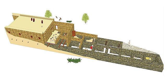 Rekonstruktion eines Gebäudes aus der Zeit der Seevölker