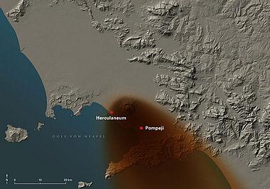 Abb. 4| Ausbreitung der Aschewolke beim Ausbruch 79 n. Chr. geht getrieben vom Nordwestwind südöstlich des Vesuvs bei Pompeji nieder. Über ein Gebiet von ca. 70 km Länge lagern sich Asche und Lapilli bis zu einer Höhe von ca. 260 cm ab © LDA Sachsen-Anhalt, G. Orsi