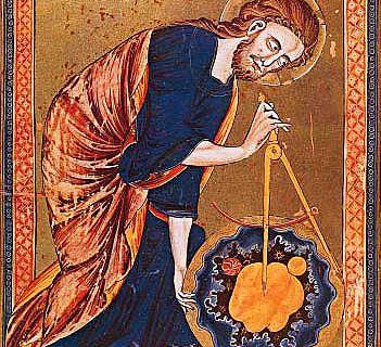 Gott als Geometer. Codex Vindobonensis 2554, Mitte des 13. Jh.