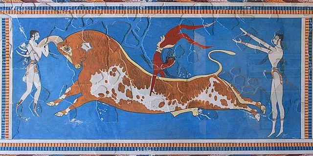 Das Stierspiel-Fresko im minoischen Palast von Knossos