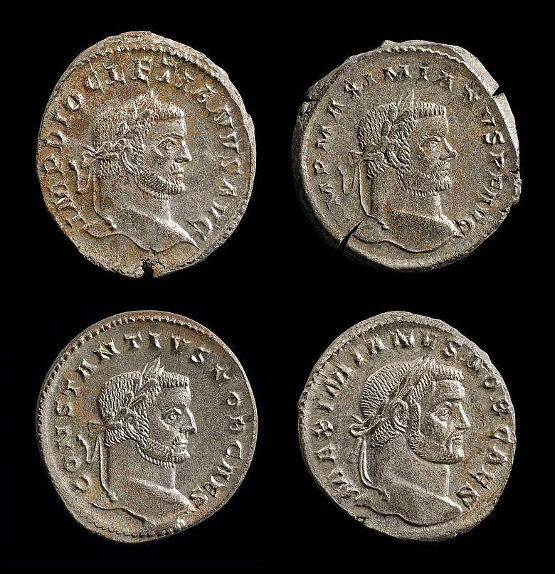 Münzen mit den Tetrarchen