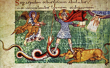 Christus als Kriegerfürst und Sieger über das Böse in Person von Löwe und Schlange