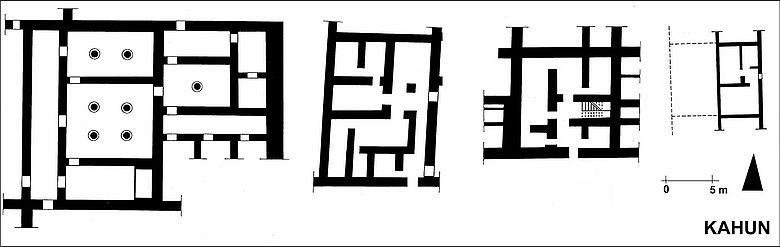 Kahun: Reihenhäuser Pyramidenstadt (Grundrisse)