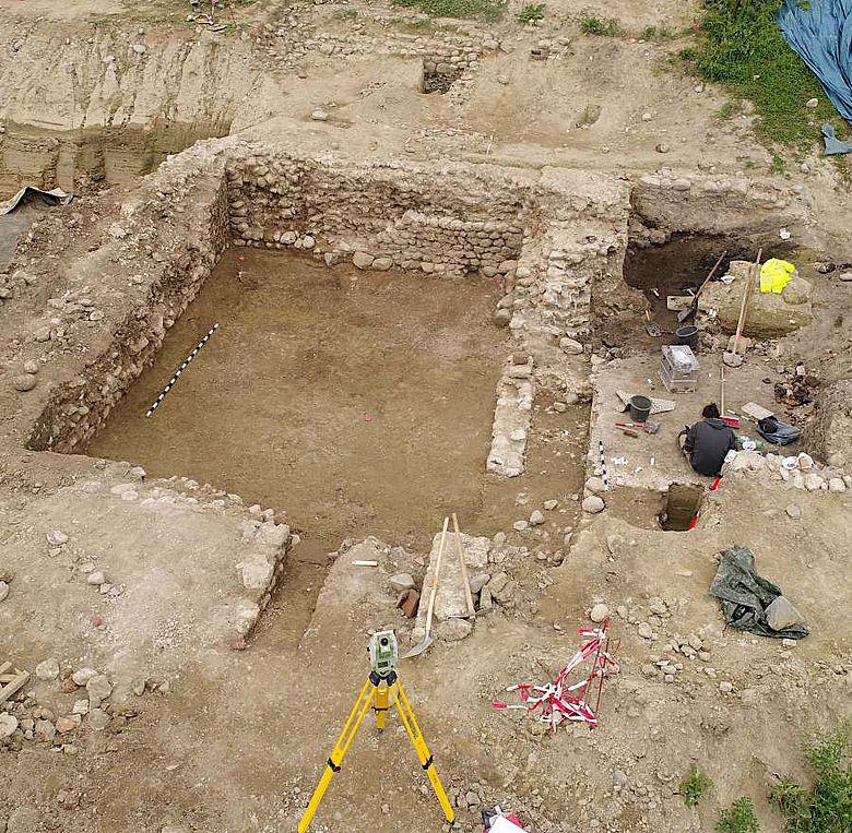 Römischer Keller während der Dokumentation