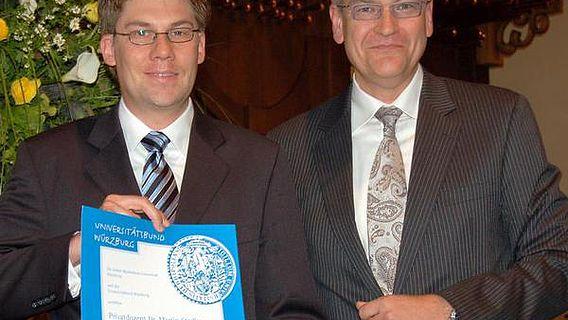 Röntgenpreisträger Martin Stadler (links) und sein Laudator David Brandstätter (Foto: Robert Emmerich)