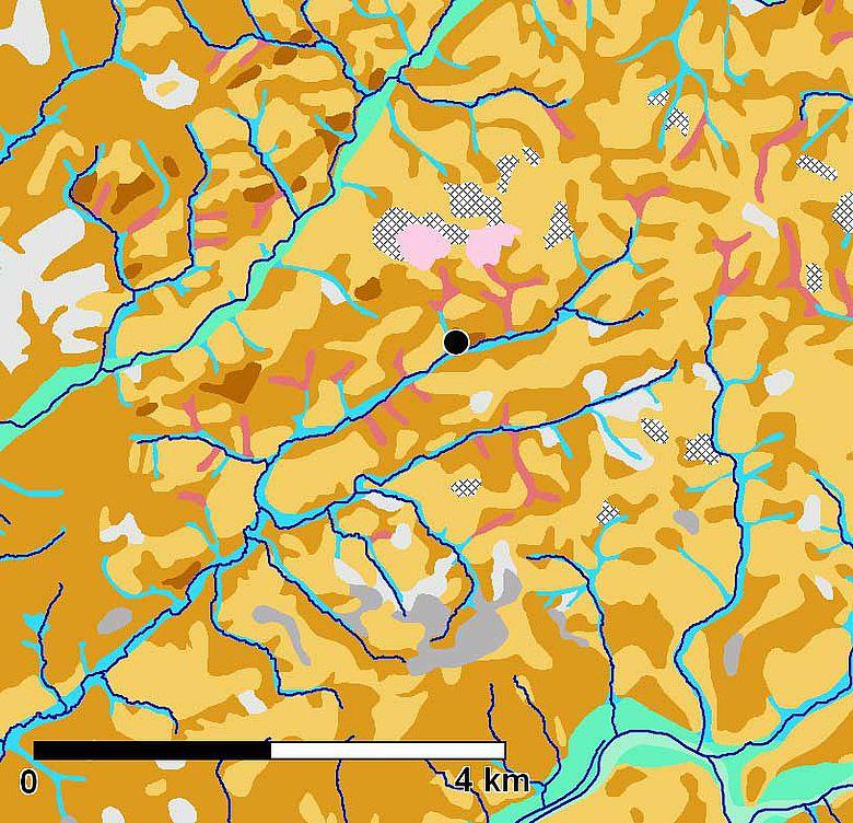Abb. 5. Ausschnitt aus der Bodenkarte, Lindlar ist mit einem schwarzen Punkt markiert. Außerdem sind die modernen Wasserläufe in dunkelblau eingetragen (Bodenkarte: Geologischer Dienst, Nordrhein-Westfalen)