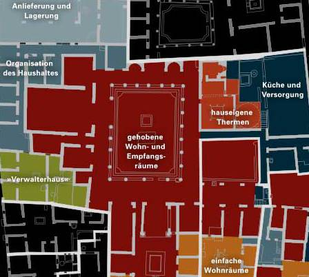 Abb. 1| Grundriß der Insula I 10 basieren auf Vermessungsdaten des Landesamtes für Denkmalpflege und Archäologie Sachsen-Anhalt 2010. Kartiert sind die einzelnen Funktionsbereiche der Casa del Menandro © LDA Sachsen-Anhalt