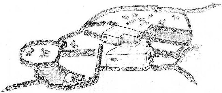 Abb. 9| Zeichnerische Rekonstruktion eines minoisch altpalastzeitlichen Wohnplatzes in den Bergen mit umgebenden Mauern © Historischer Landschaftspark Kroustas