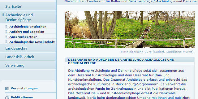Homepage des Landesamts für Kultur und Denkmalpflege Mecklenburg-Vorpommern (Screenshot)