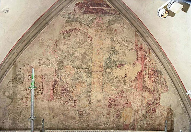 Wandbild an der Westwand des Südquerhauses im Augsburger Hohen Dom