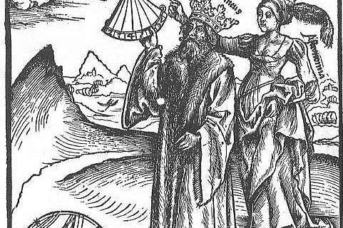 Ptolemaeus beobachtet mit einem Sextanten den Himmel (aus: Gregor Reisch, Margarita philosophica, Basel 1517)