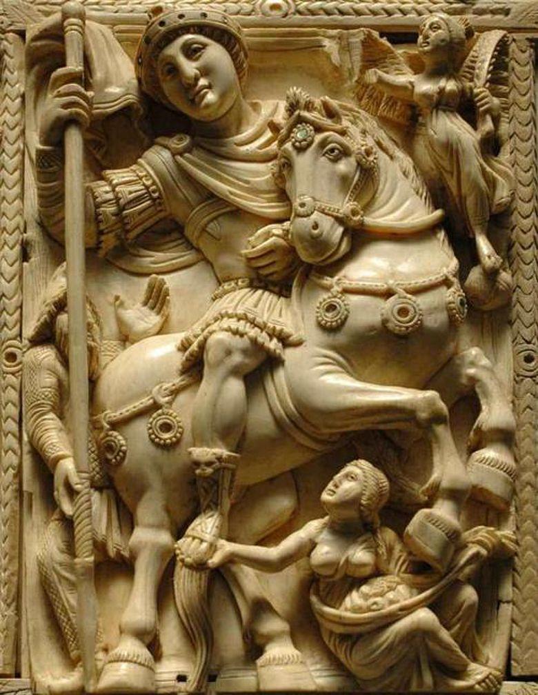 Hoch zur Roß - Kaiser Justinian als siegreicher Feldherr, begleitet von einem Engel
