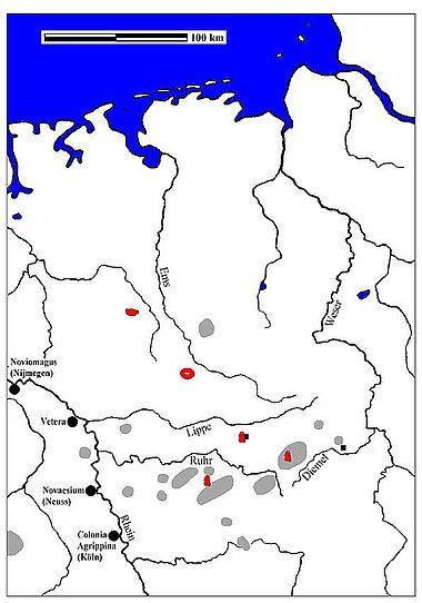 Abb. 8| Verbreitung der trapezförmigen Bleibarren sowie die Bleifunde von Albersloh und Denekamp in der ersten Hälfte des 1. Jhs. n. Chr. im Verhältnis zu Bleierzvorkommen (Entwurf und Zeichnung M. Straßburger)