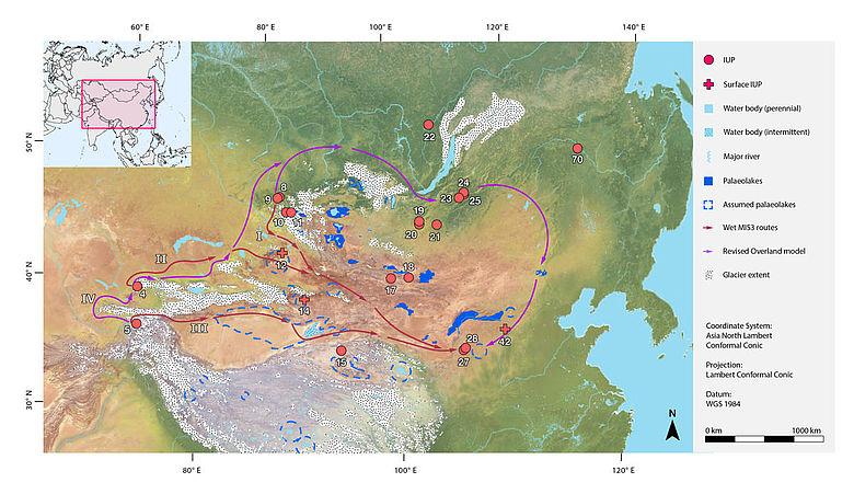 Karte: Mögliche Migrationsrouten (least cost)